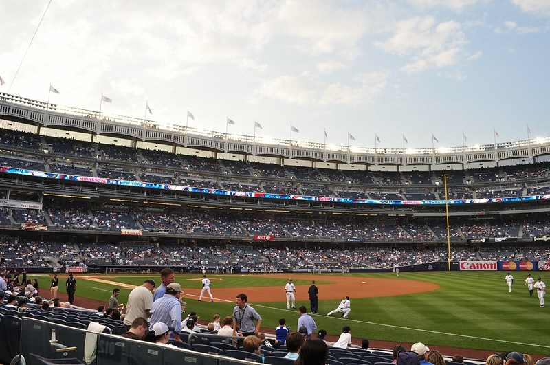 Photo taken from the field level seats at Yankee Stadium during a New York Yankees home game.