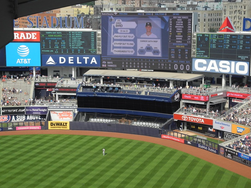 Photo of the center field area at Yankee Stadium. Home of the New York Yankees.