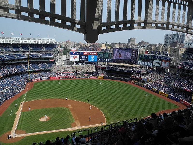 Photo taken from the grandstand level seats at Yankee Stadium during a New York Yankees home game.