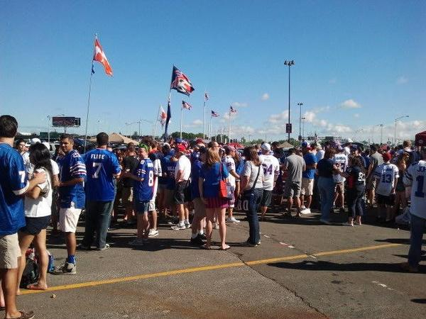 Photo of Buffalo Bills fans tailgating outside of New Era Field.