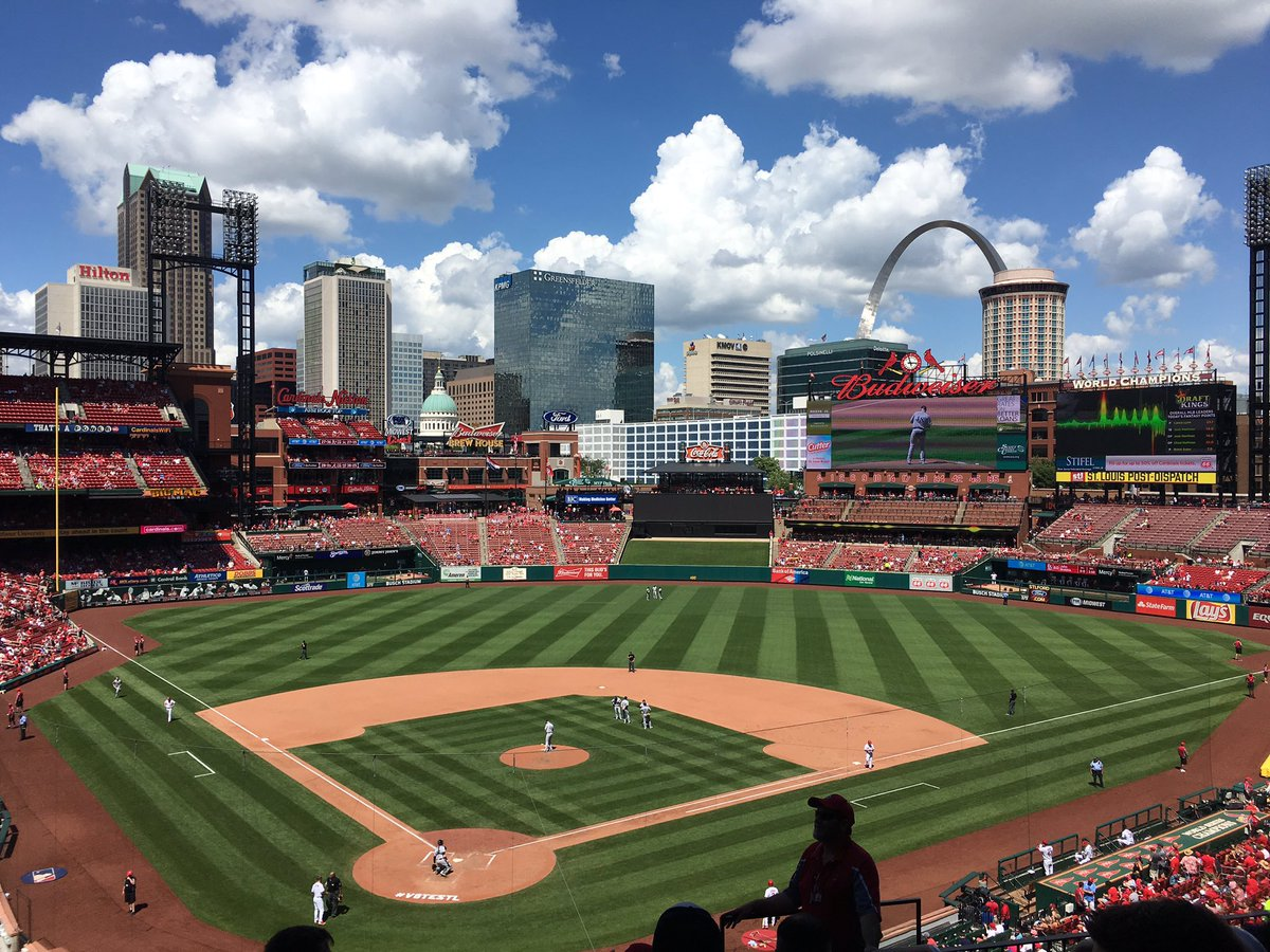 Photo of the field at Busch Stadium, home of the St. Louis Cardinals.