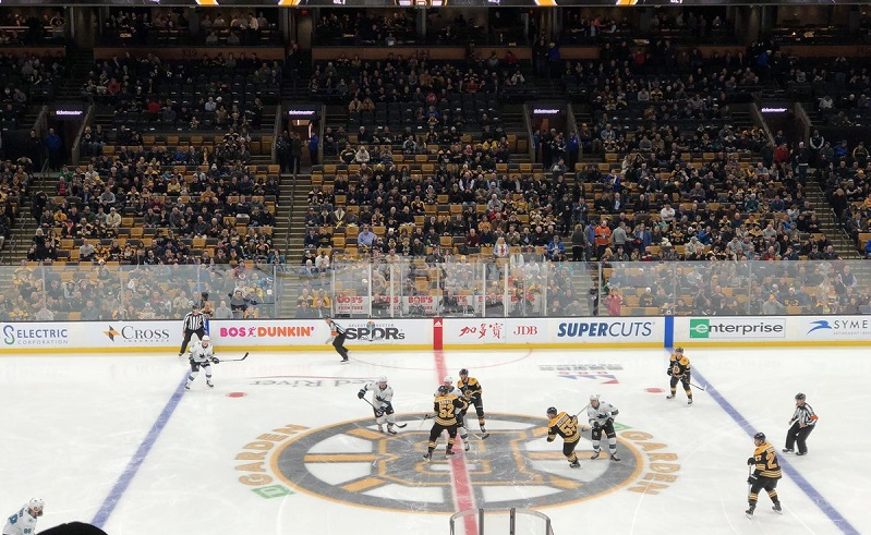 Photo of a Boston Bruins game from the club seats at the TD Garden.