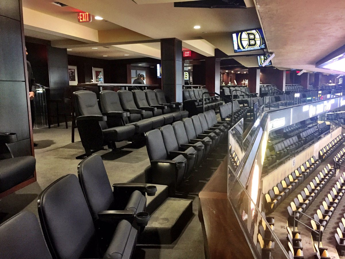 Photo of the seats in the Cross Insurance Boardroom at the TD Garden in Boston, Massachusetts.