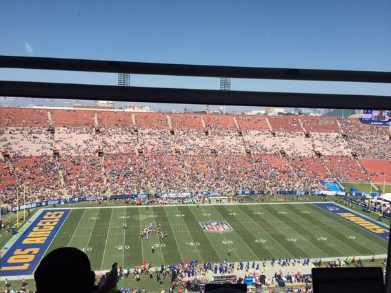 Empty Seats at Los Angeles Memorial Coliseum, Home of the Los Angeles Rams