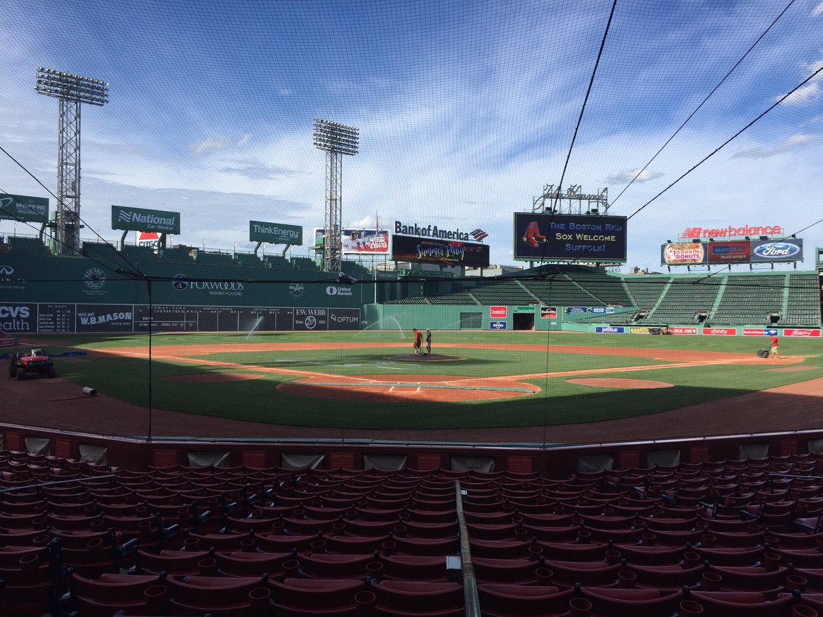 Photo of the field at Fenway Park, home of the Boston Red Sox.