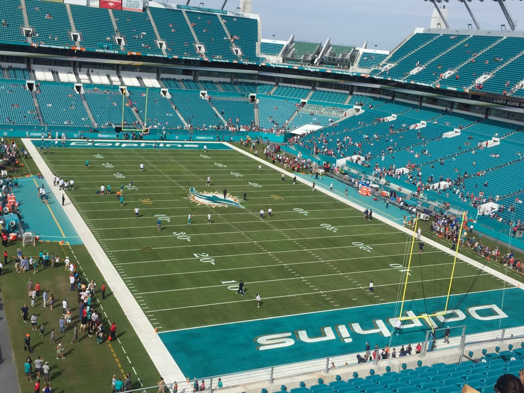 Photo of the field at Hard Rock Stadium, home of the Miami Dolphins.
