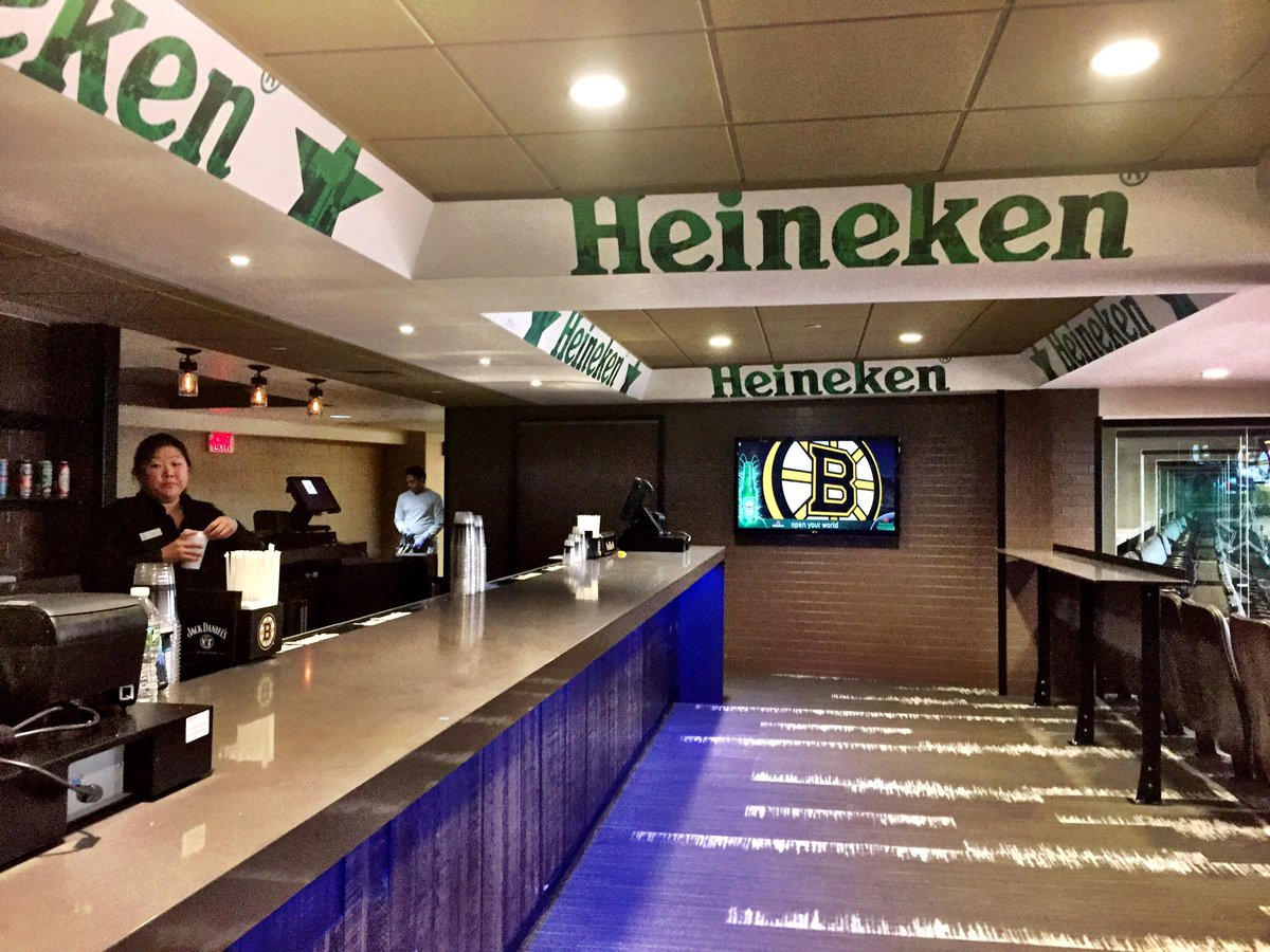 Photo of a Heineken Green Room concession stand at the TD Garden.