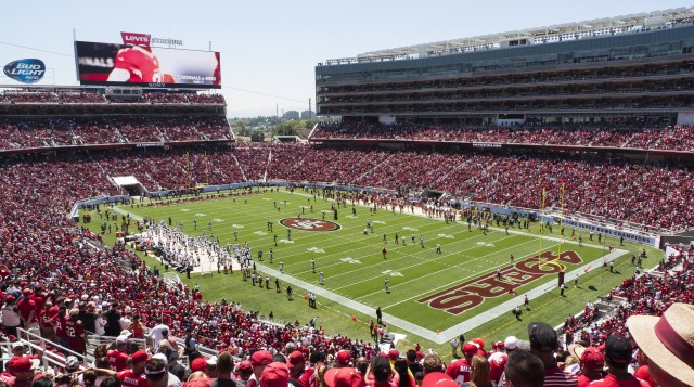Photo of the field at Levi's Stadium, home of the San Francisco 49ers.