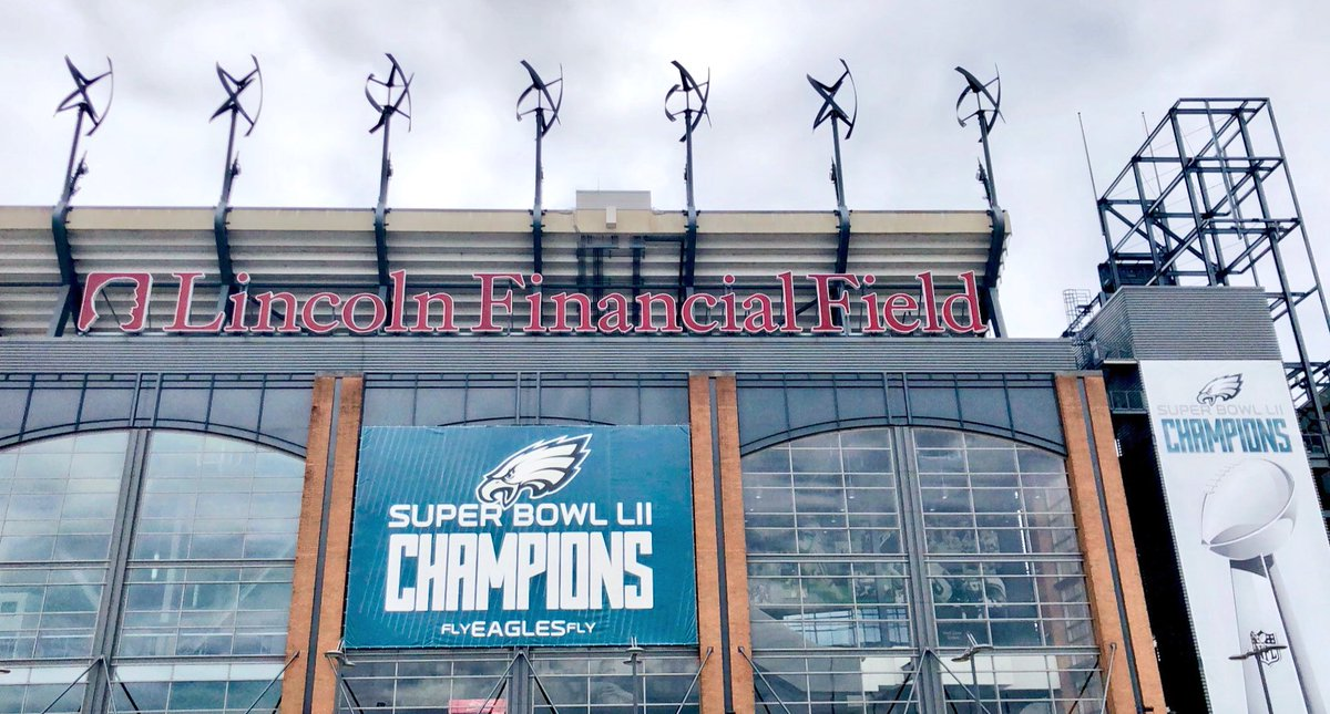 Exterior photo of Lincoln Financial Field. Home of the Philadelphia Eagles.