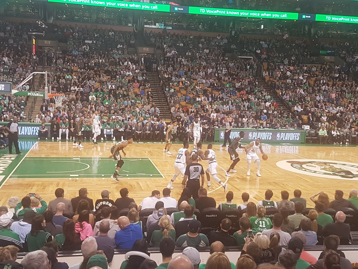 Photo of a Boston Celtics game from a loge level seat at the TD Garden.