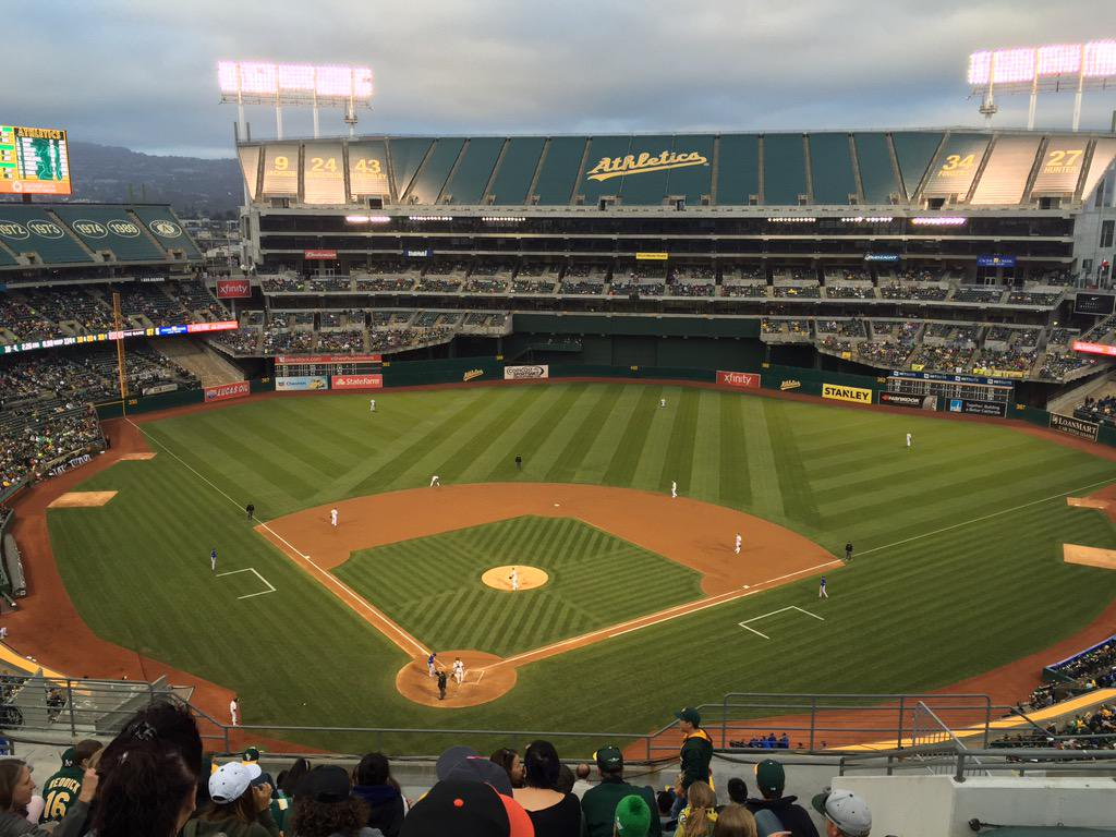 Photo of Oakland Coliseum from the upper deck during an Oakland Athletics game.