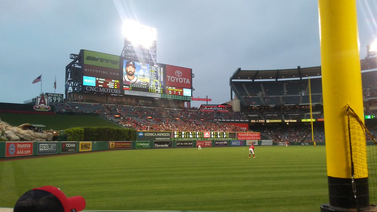 View of the outfield wall at Angel Stadium of Anaheim.