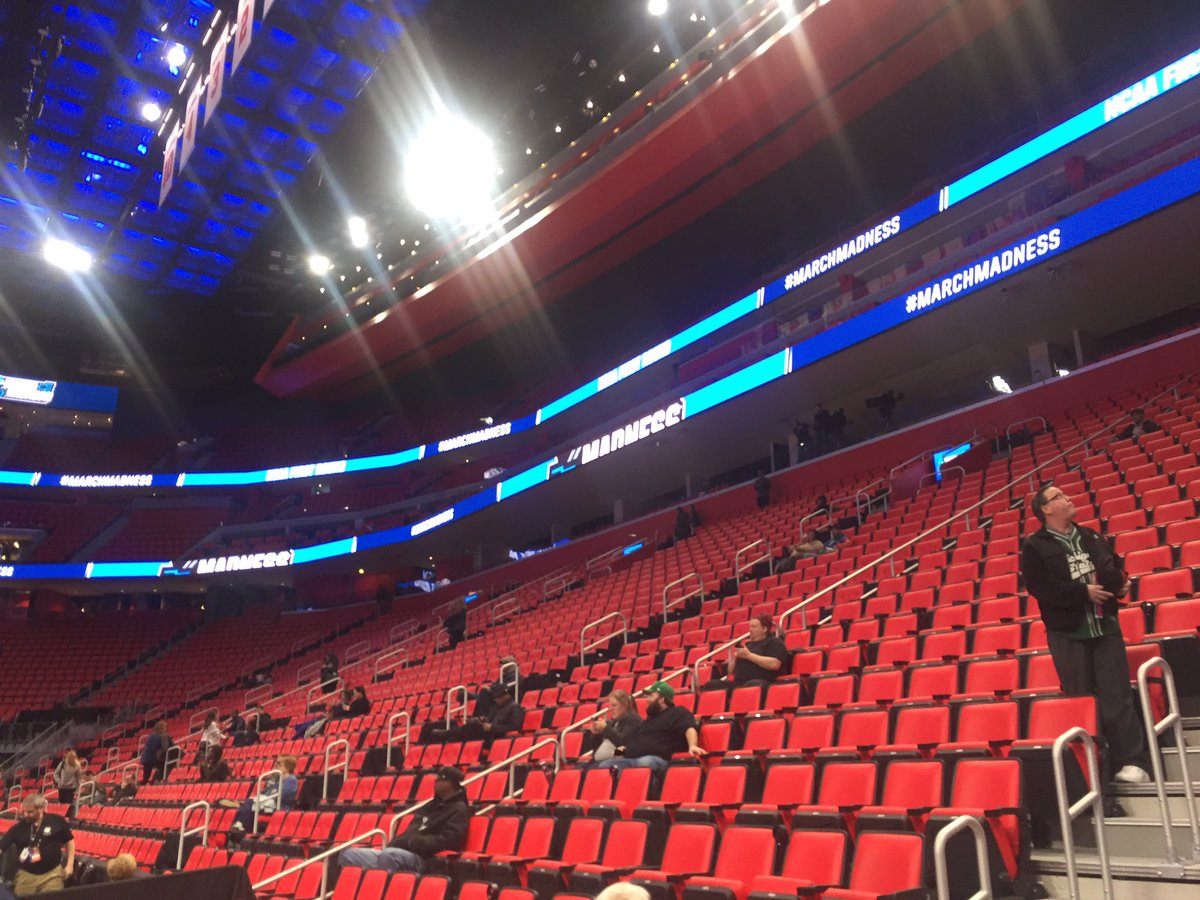 Photo of the red seats at Little Caesars Arena.