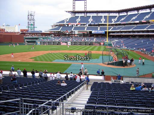 Seat view from section A at Citizens Bank Park, home of the Philadelphia Phillies