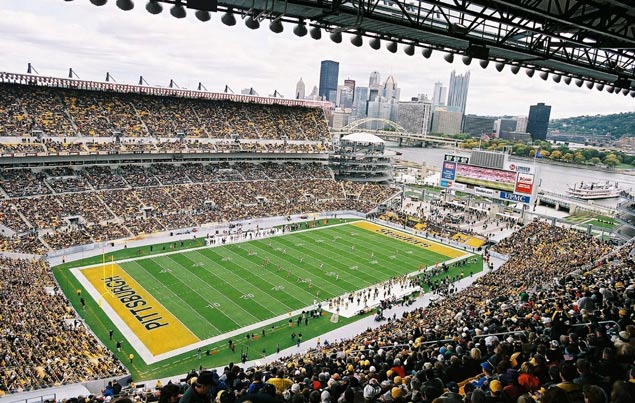 Photo of the playing field at Heinz Field, home of the Pittsburgh Steelers.