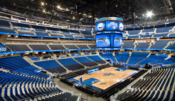 Photo of the court at the Amway Center, home of the Orlando Magic.