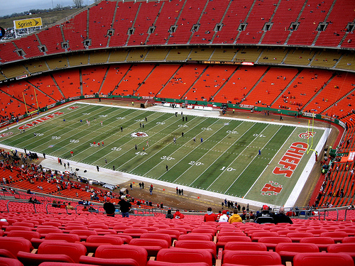Photo of the field at Arrowhead Stadium, home of the Kansas City Chiefs.