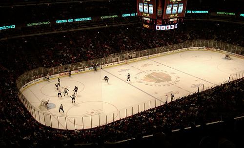 Photo of the ice at the United Center during a Chicago Blackhawks game.