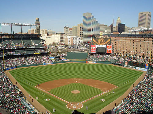 Photo of the field at Oriole Park at Camden Yards, home of the Baltimore Orioles.