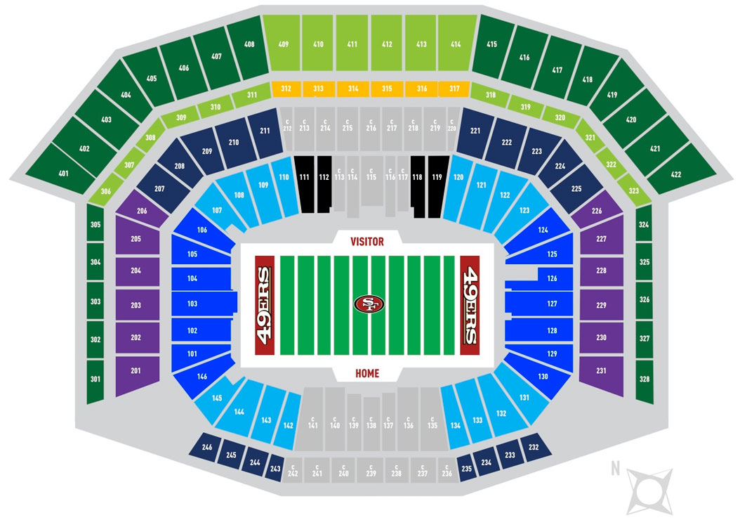 Levi's Stadium Seating Chart, San Francisco 49ers.