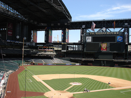 Photo of the playing field at Chase Field, home of the Arizona Diamondbacks.