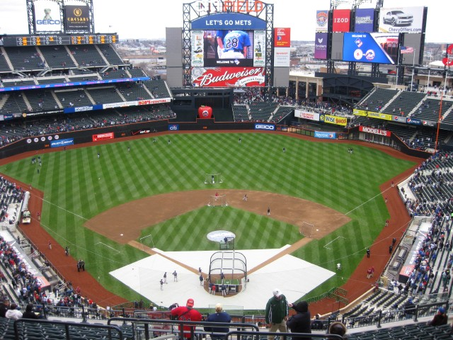 Photo of the playing field at Citi Field, home of the New York Mets.