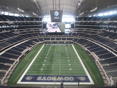 Photo of AT&T Stadium from the upper level. Home of the Dallas Cowboys.