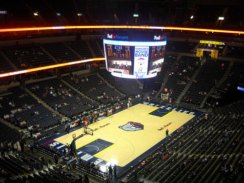Photo of the court at Fedex Forum, home of the Memphis Grizzlies.