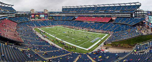 Photo of the field at Gillette Stadium during a New England Patriots game.