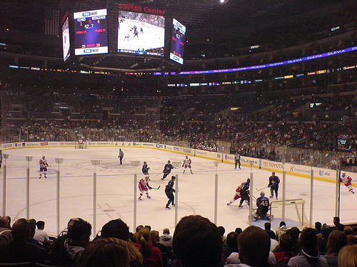 Photo of a Los Angeles Kings game at the Staples Center.