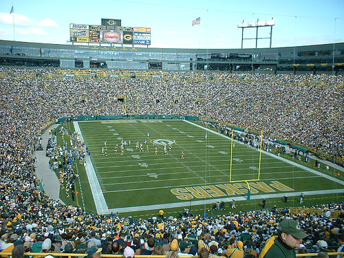 Photo of Lambeau Field, home of the Green Bay Packers.