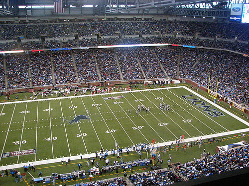 Photo of the field at Ford Field, home of the Detroit Lions.