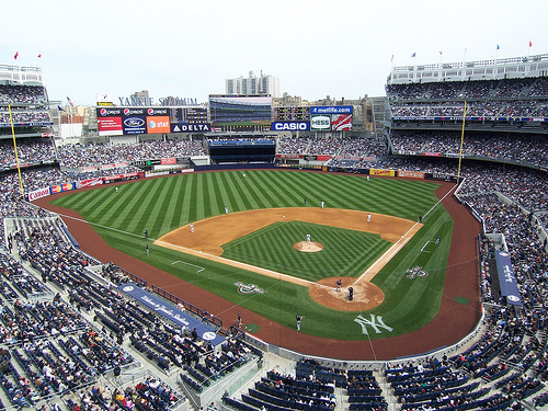 Photo of the field at Yankee Stadium, home of the New York Yankees.
