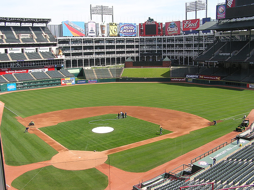 Photo of the playing field at Globe Life Park in Arlington, home of the Texas Rangers.