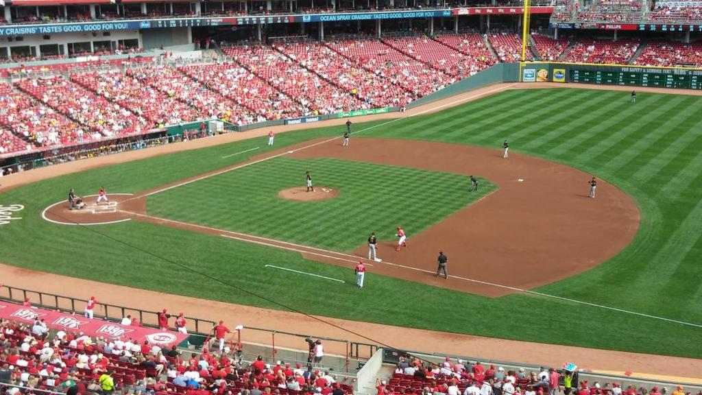 View of the playing field at Great American Ball Park from the upper level. Home of the Cincinnati Reds.