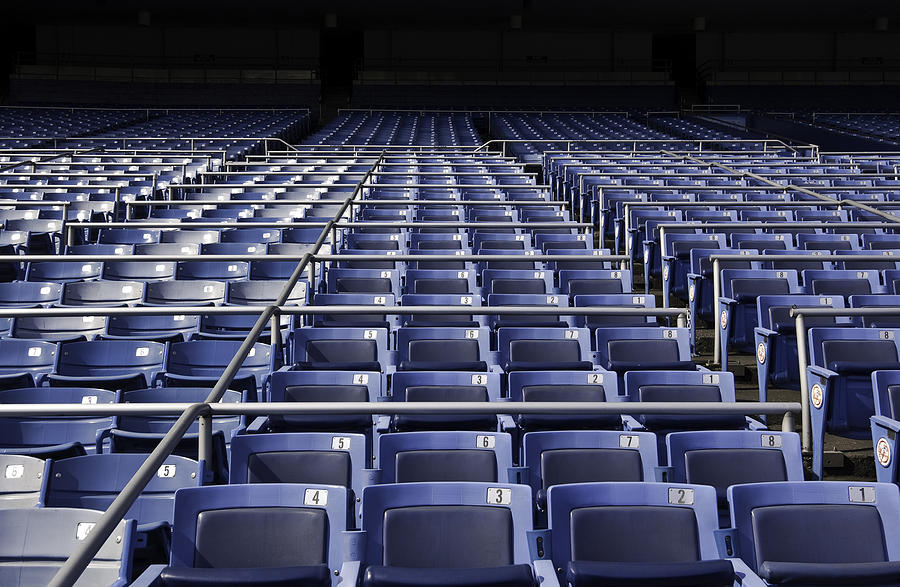 Stock photo of a stadium of empty seats.