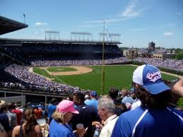 View of Wrigley Field from the Sheffield Baseball Club.