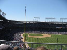 View of Wrigley Field from the Skybox on Sheffield rooftop.