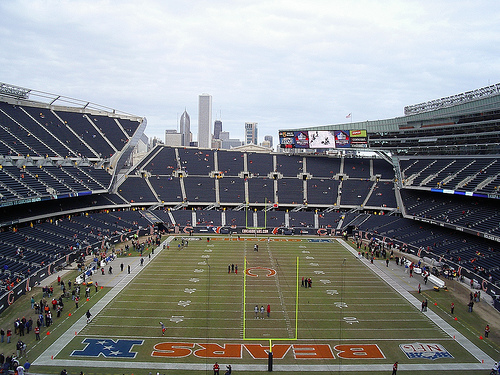 Photo of the field at Soldier Field, home of the Chicago Bears.