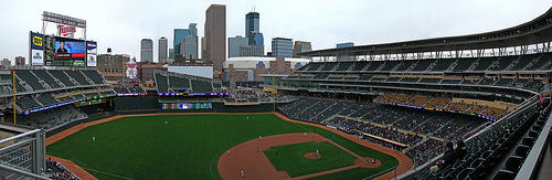 Photo of the field at Target Field, home of the Minnesota Twins.