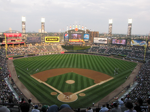 Photo of the field at Guaranteed Rate Field, home of the Chicago White Sox.