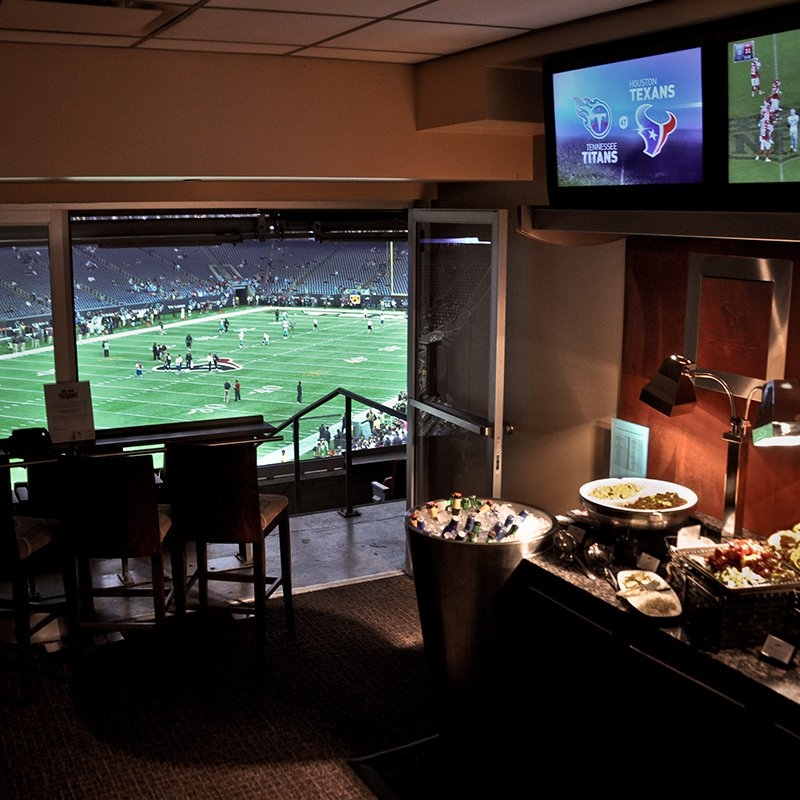 Interior photo of a suite at NRG Stadium. Home of the Houston Texans.