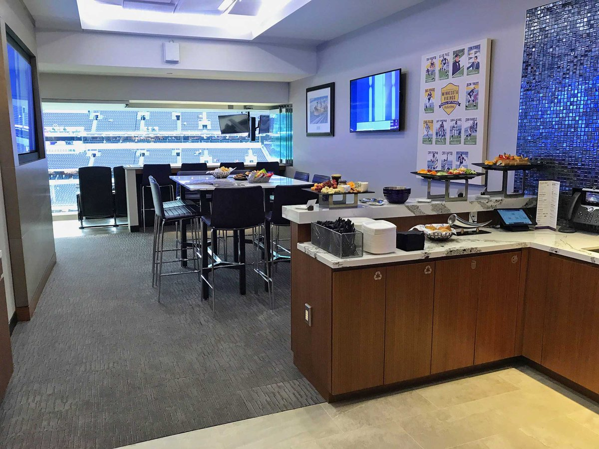 Photo of a luxury suite at U.S. Bank Stadium during a Minnesota Vikings home game.