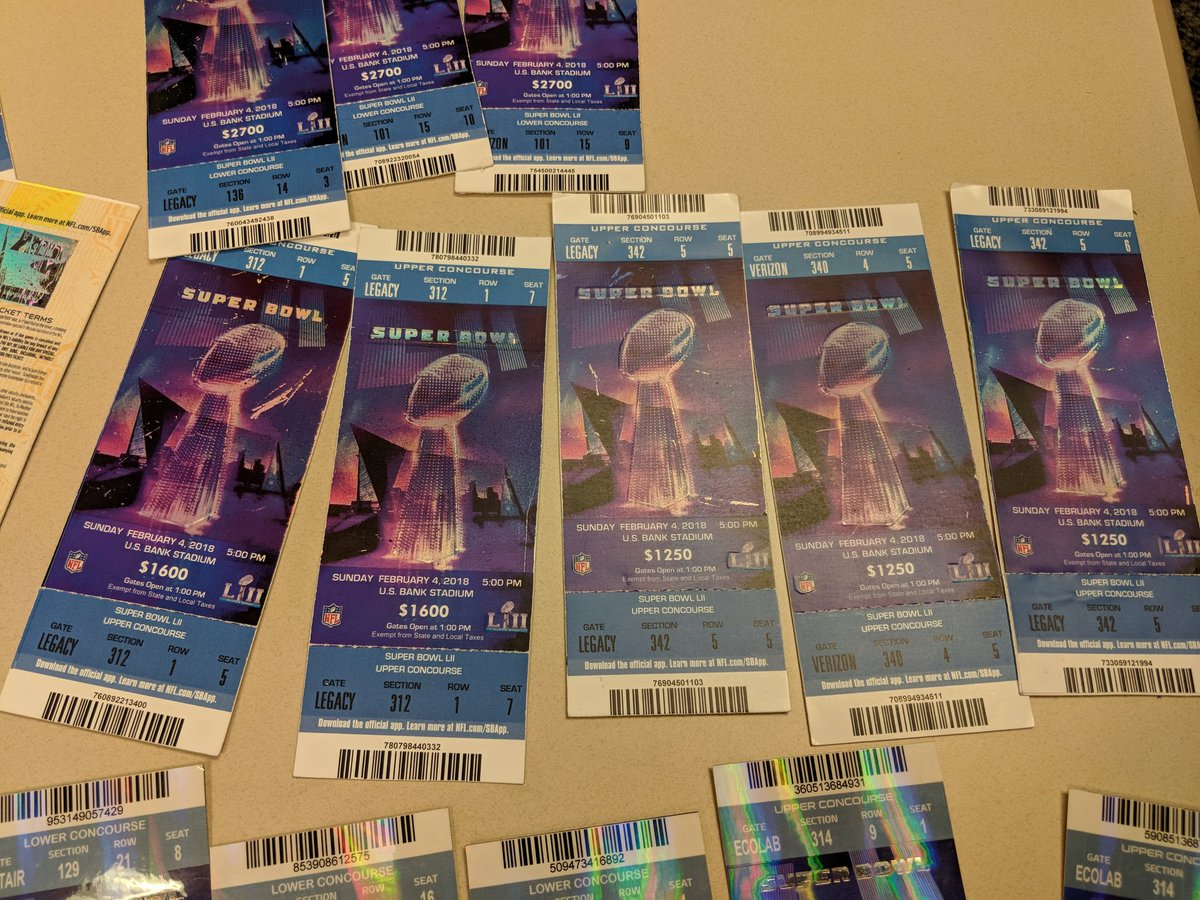 Photo of a sheet of Super Bowl tickets.