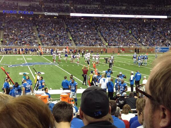 Photo of the turf at Ford Field during a Detroit Lions vs. New York Giants game.