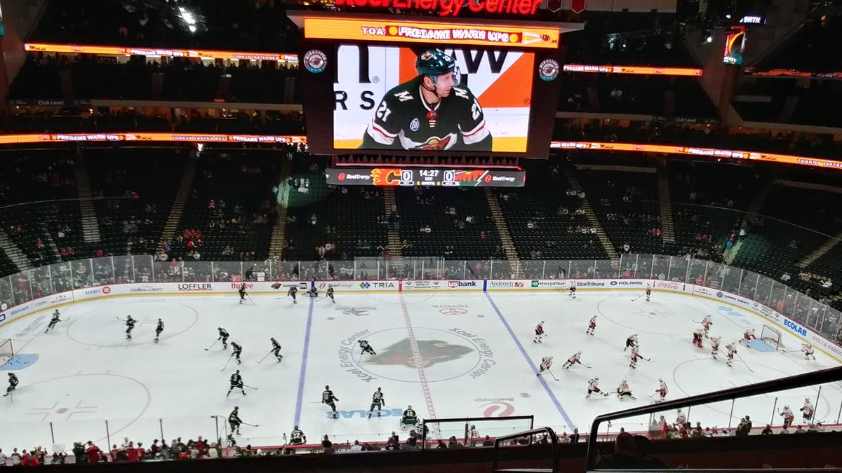 Photo of a Minnesota Wild game from the upper level of the Xcel Energy Center.