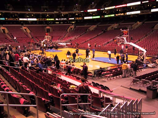 Seat view from section 104 at the Wells Fargo Center, home of the Philadelphia 76ers