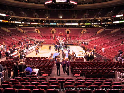 Seat view from section 107 at the Wells Fargo Center, home of the Philadelphia 76ers