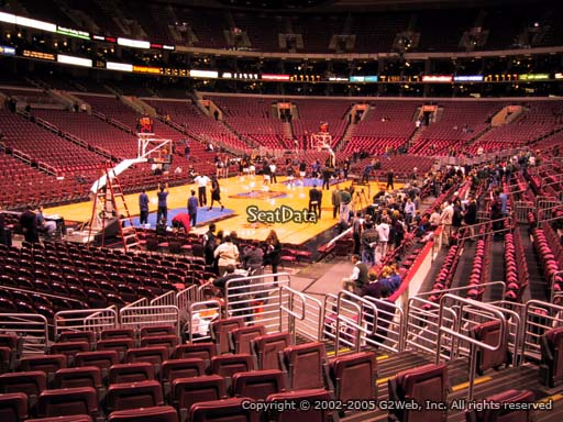 Seat view from section 121 at the Wells Fargo Center, home of the Philadelphia 76ers