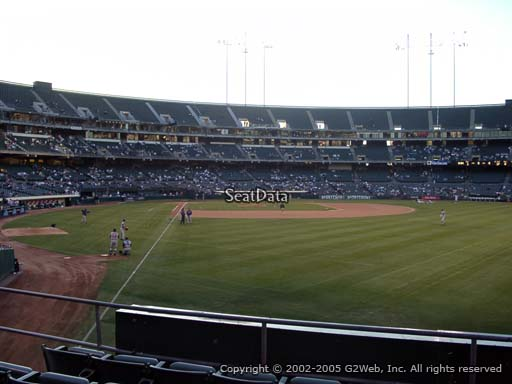 Seat view from section 102 at Oakland Coliseum, home of the Oakland Athletics